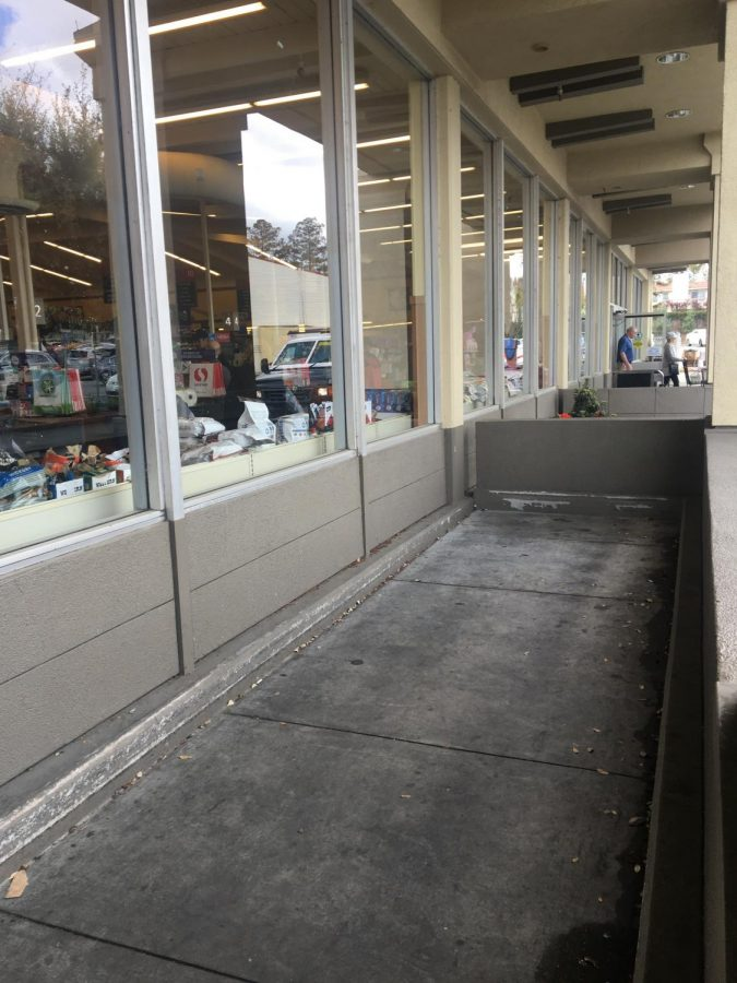 The area where shoppers take and return shopping carts is completely empty at a Safeway in Los Gatos.
