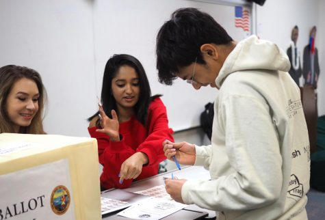AP Government student Riva Saksena helps Shray Alag (11) turn in his ballot during fifth period on Monday. Students were able to cast their ballot for presidential candidates from all parties as well as vote on California's Proposition 13, which regulates funding for education.