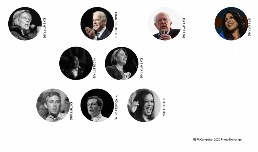 The field of former and current Democratic presidential candidates, with candidates who dropped out in black and white and candidates who are still running in color.