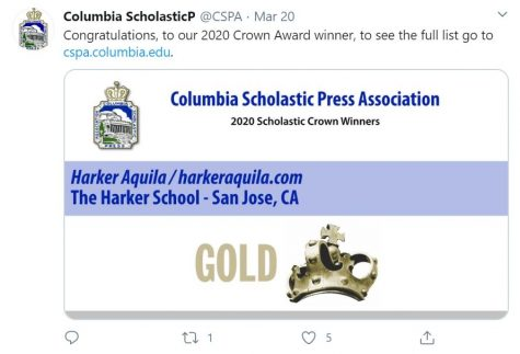The Columbia Scholastic Press Association announced last Friday that Harker Aquila was one of eight high school sites nationwide to receive the Gold Crown award in digital news.