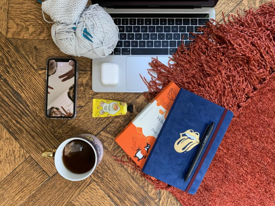 My survival kit includes a barely-there beanie knitted using soft gray Feels Like Butta yarn; my phone and laptop ofc; airpods; a Rolling Stones Moleskine; a burnt orange blanket; smokey earl gray tea; Korean yuja hand cream; Don DeLillos White Noise for Postmodern Lit; and a Tru Red black 0.5 pen.