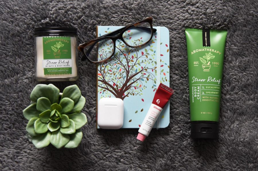 My pandemic survival kit includes my candle and lotion in my favorite scent: Aromatherapy Eucalyptus and Spearmint; my fake succulent (since I can't keep a real one alive); AirPods; Glossier lip balm; my blue light prescription glasses (I have not put in contacts in a month); and my journal. These essentials keep me grounded during this shelter-in-place.