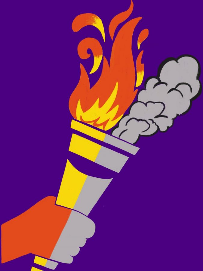 A torch representing the Latin language. The regenerative power of flames symbolizes truth, life–the part of Latin that lives on forever. The smoke radiates outwards and dissipates, symbolizing the