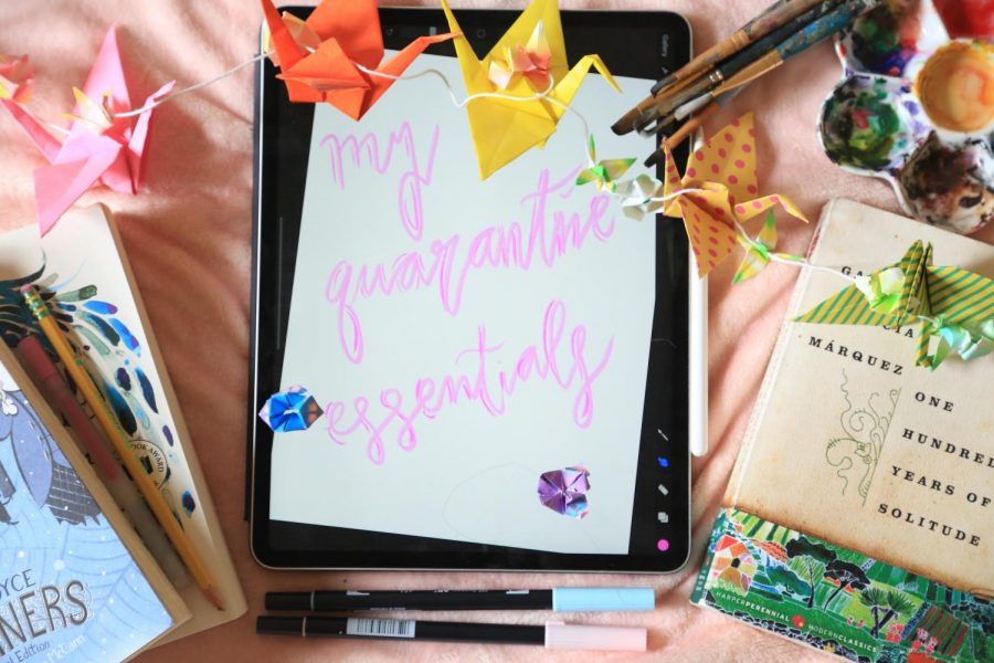 My pandemic survival kit includes my favorite books, origami, various art mediums and my iPad. Cranes symbolize peace and tranquility, two emotional states that are crucial for all of our well-beings, especially during these disorienting times.