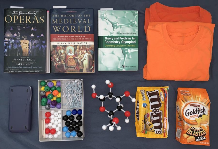 The objects I need for during a pandemic are my books, snacks, shirts, modeling kit and calculator. Notice how the snack bags are very deflated.