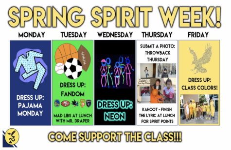 "A flier made by the freshman class summarizing the events taking place throughout Spirit Week. ""I was definitely looking forward to the spring spirit rally, but I'm glad HSLT and the student council worked together to ensure a virtual version of spring spirit still would happen,"" Michelle Jin (9) said."