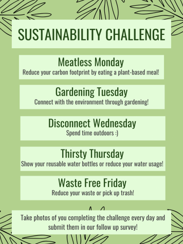 """A poster describing the daily challenges for each day of Earth Week. """"We wanted to still be as engaging as possible this week, even if it wasn't in person,"""" upper school Green Team President Anvi Banga (12) said. """"Take advantage of tomorrow, because it's not every day that we get to celebrate the 50th anniversary of Earth Day."""""""