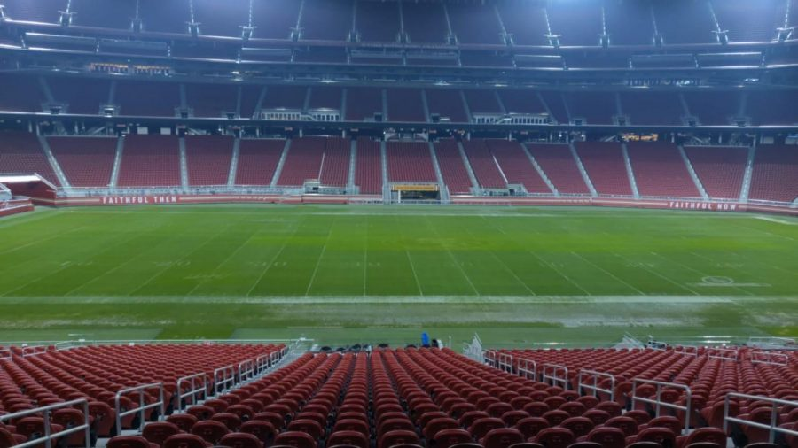 An empty 49ers stadium on Feb. 1. At this time,  the team was in Miami, finishing their last practice before the Super Bowl LIV game against the Kansas City Chiefs.
