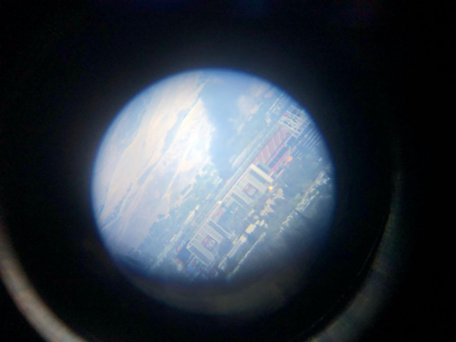 "Irene Yuan (10) looked at the fire at Republic Services Newby Island Landfill through her telescope and took this photo at 1:10 p.m. ""I was doing some work and then my dad told me [about a fire],"" Irene said. ""We have this telescope in our house, so I looked through that. From where I was, [the fire] looked pretty big."""
