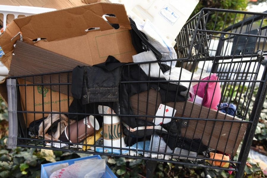This close-up photo shows the contents of a shopping cart on the sidewalk on Kiely Blvd., around the corner from the upper school. The latest PIT count in 2019 estimated that over 34,000 people were homeless in the Bay Area, an increase of over 22 percent since 2017.