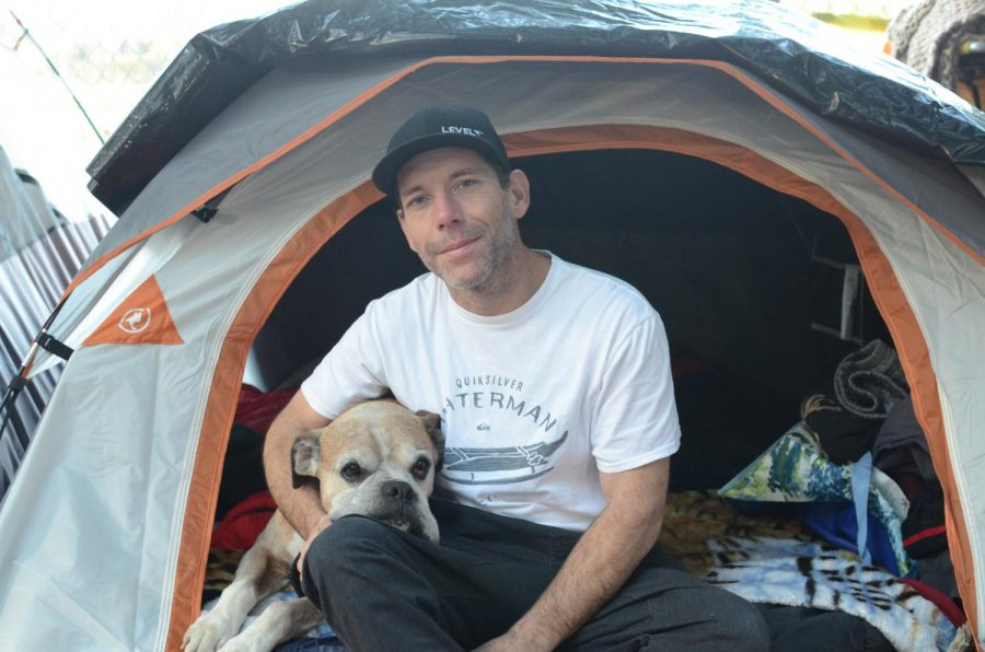 Joseph Vicino, 37, had been living on the trail with his dog, Rocky, for the past six months, ever since his trailer got towed with all his money and belongings. Skyrocketing rents in Santa Rosa, brought on by the destruction of the 2017 Tubbs fire, forced Vicino out of his previous home.