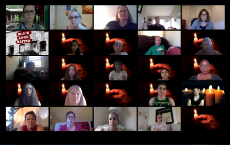 Attendees at the virtual Solidarity and Fellowship Vigil used images of candles as their Zoom backgrounds to symbolize their support and solidarity. The hosts provided the photo of the candle in the Zoom chat for participants to download.
