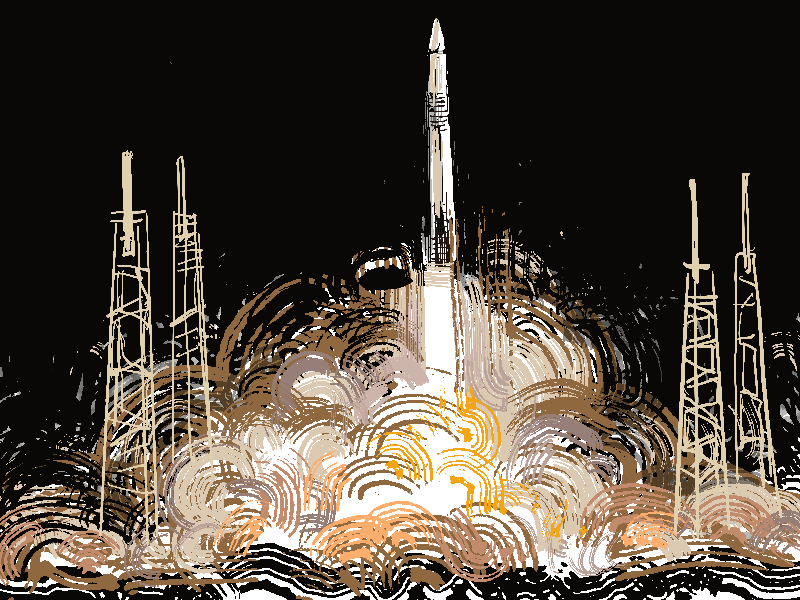 An illustration depicting Falcon 9 launching from the Kennedy Space Center in Merritt Island, Florida. The spacecraft was designed and created by SpaceX, a private American aerospace company based in Hawthorne, California.