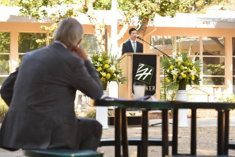 Associated Student Body President Jason Lin records his speech for the virtual matriculation ceremony, as head of school Brian Yager looks on. Jason touched upon ways that the Harker community has stayed connected during quarantine.