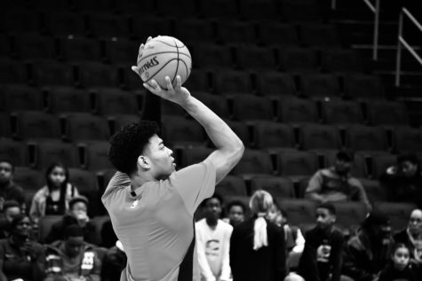 Washington Wizards point guard Rui Hachimura warms up his jumpshot prior to the team