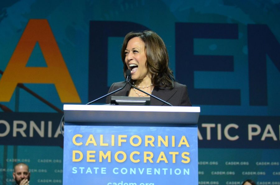Califronia Sen. Kamala Harris speaks at the California Democratic State Convention on June 1, 2019. Harris was elected as senator in 2016 and rapidly rose to national prominence for her interrogations in the hearings of former U.S. Attorney General Jeff Sessions and then-Supreme Court nominee Brett Kavanaugh. She also launched her own presidential campaign in January 2019 and notably confronted Biden about his opposition to busing in the first primary debate.