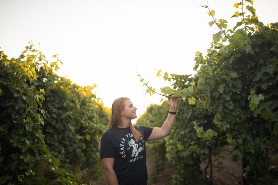 Tara Beaver Coronado poses at her vineyard in Northern California. Despite the 10 to 20 year commitment of a vineyard, Coronado loves facing challenges, asking questions, and continually learning. Since planting her vineyard in April 2018, Coronado just completed her first harvest in late August of this year, a three-night culmination of two years of work.