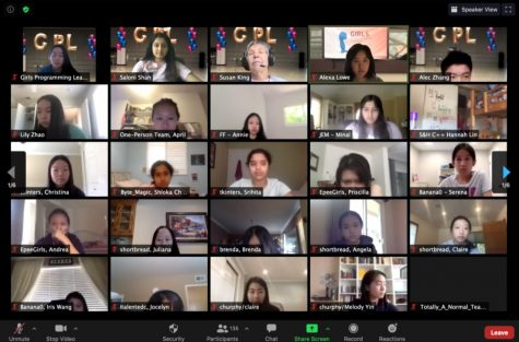 Girls Programming League (GPL) team officers and participants meet in a Zoom room for the awards ceremony. This year, the GPL event was held virtually due to concerns about COVID-19.