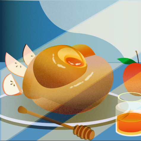 Bright red apples dipped in rich, golden honey and a spiraling challah, or type of bread, sit on a table as part of a celebration of Rosh Hashanah, a Jewish holiday where observers celebrate the start of a new year. Both of these foods are intrinsic traditions of this holiday.