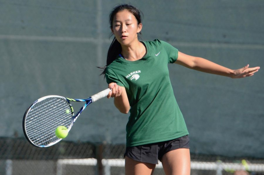 Sophomore Sara Wan swings at the tennis ball during a CCS semifinals match last year. Competitive boys and girls tennis seasons for this year are scheduled to begin in the spring, as per the California Interscholatic Federation's (CIF) revised sports schedule for the 2020 - 2021 school year.