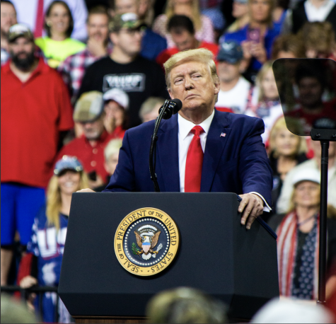 President Donald Trump addresses the crowd at Target Center in Minneapolis, MN, for his 2020 presidential campaign rally on October 10, 2019. The Senate is currently holding Trump