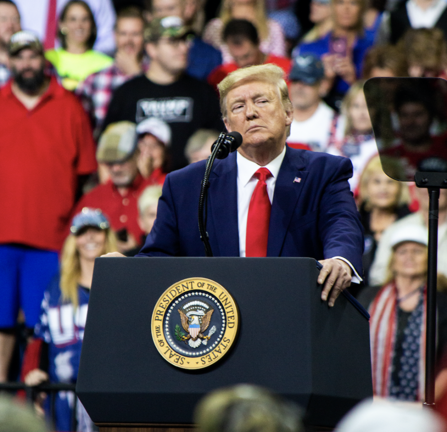 President Donald Trump addresses the crowd at Target Center in Minneapolis, MN, for his 2020 presidential campaign rally on October 10, 2019.