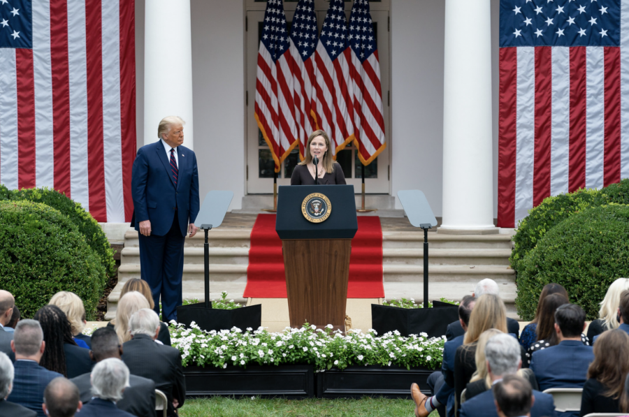 Judge Amy Coney Barrett gives a speech after President Trump announces her as Supreme Court nominee on Sept. 26. The Senate is expected to confirm her nomination on Monday due to its Republican majority.