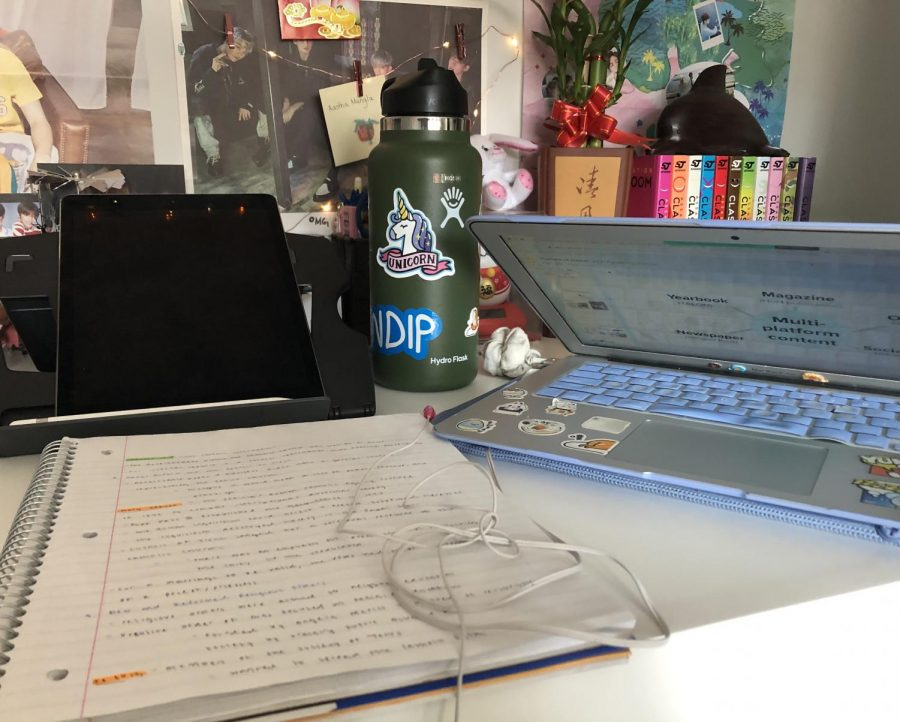 My workspace consists of my laptop, notebook, drawing iPad, and water bottle usually. I have fairy lights and posters set up in the background, along with a few books and a bamboo plant because it apparently provides good health and luck.