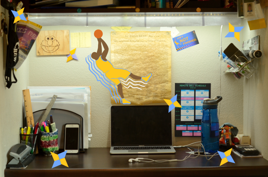 My workspace, like me, operates in a constant state of organized chaos. From the mini-Kobe poster to all the little crafts, everything is exactly the way I like it.