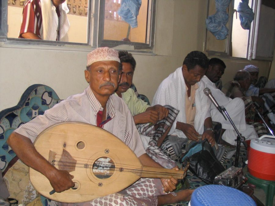 Yemenis play music at a cultural club in Aden, Yemen. The conflict between the Houthis and the Saudi Arabian coalition has largely affected the civilian population of Yemen, with many facing famine, disease, poverty and a lack of access to education.