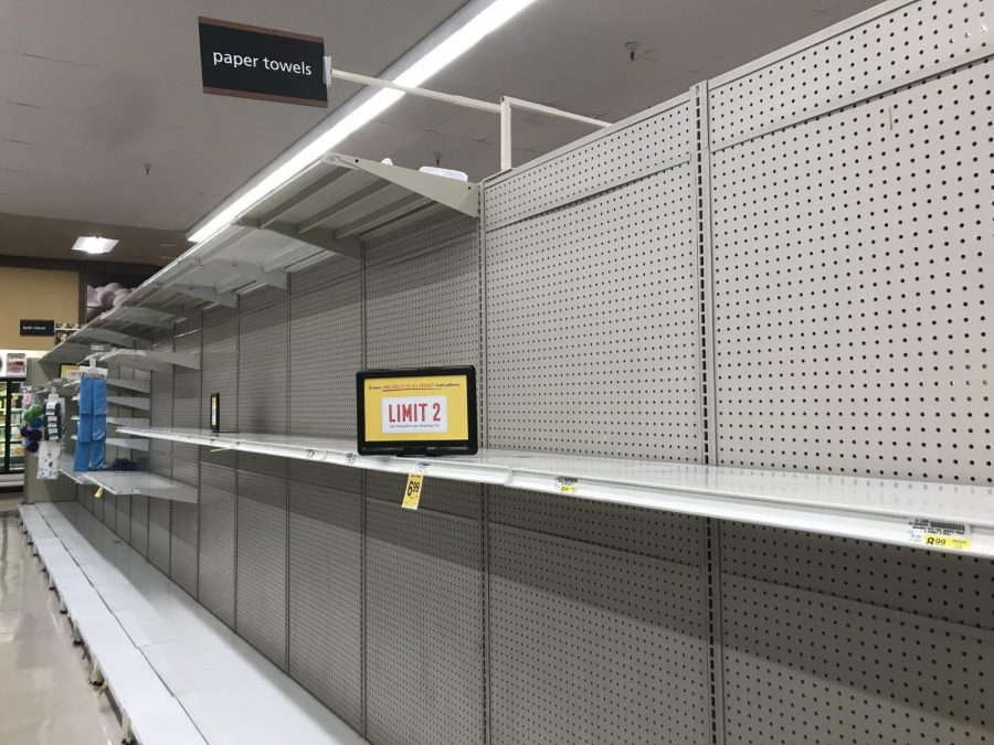 The toiletries aisle at a Safeway store in Saratoga was empty on Nov. 21, as local residents stock up on essential supplies to prepare for the increased county restrictions. Health officials issued a new stay-at-home order, which will go into effect at 10 p.m. today until Jan. 4.