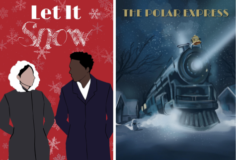 "Posters for ""Let It Snow"" (2019) and ""The Polar Express"" (2004). ""Let It Snow"" (2019) follows a series of relationships on Christmas Eve in a small snowy town, while ""The Polar Express"" features the adventures of a group of three children on Christmas Eve."