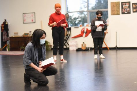 From left to right, Jasmine Li (10), Sarah Raymond (12) and Aastha Mangla (10) rehearse lines in the Rothschild Performing Arts Center on Nov. 18. All three students are performing in senior director Vaishnavi Murari