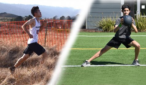 (Left) Alex Hu (11) sprints at a cross country meet last year. (Right) Rigo Gonzales (10) lunges with a medicine ball during a workout session in July.