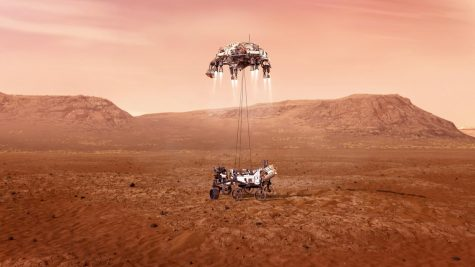 An illustration of NASA's Perseverance rover landing on Mars. The rover landed today around noon.