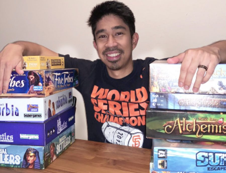Upper school economics teacher showcases the myriad of board games he enjoys playing, whether it be with friends, family or his advisory.