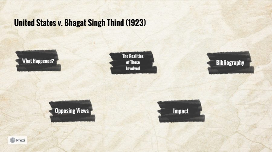 Isha Moorjani (10) and Keesha Gondipalli (10)'s Introduction to Ethnic Studies project focuses on U.S. v. Bhagat Singh Thind.