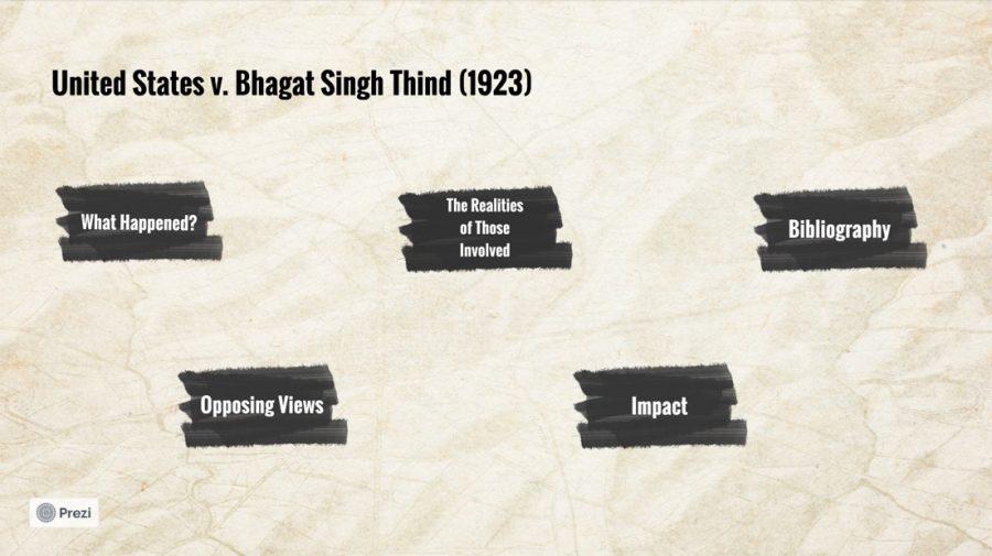 Isha Moorjani (10) and Keesha Gondipalli (10)'s Introduction to Ethnic Studies project focuses on U.S. v. Bhagat Singh Thind.