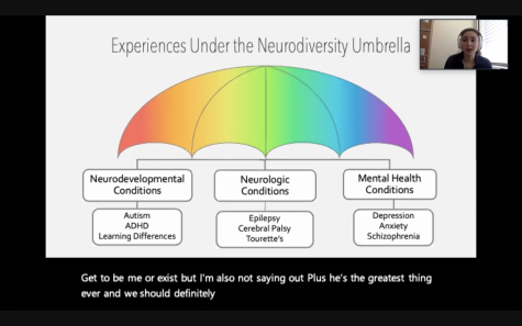 Stanford Neurodiversity Project Program Coordinator Isabelle Morris talks about the wide range of conditions in the neurodiversity spectrum during her speaker event on March 11.