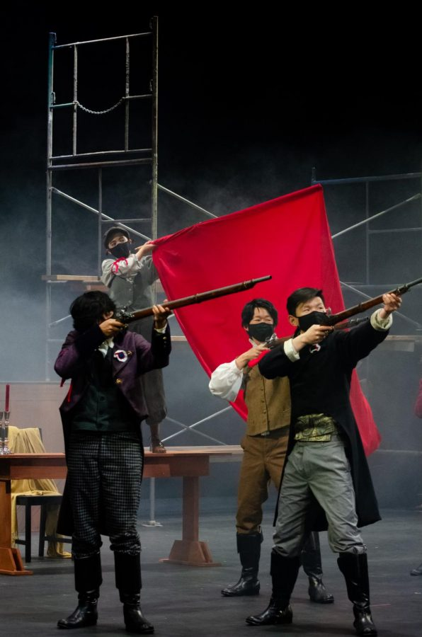 David Dai (11), Ishaan Parate (11), Paulina Gicqueau (10) and Alan Jiang (10) perform in the Upper School's production of