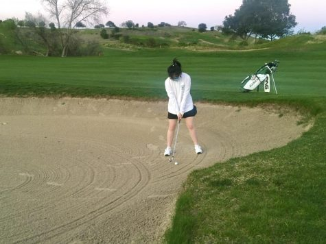 Jessica Zhou (10) prepares to hit a bunker shot at a practice round at Cinnabar Hills Golf Club last week. Following the upper school