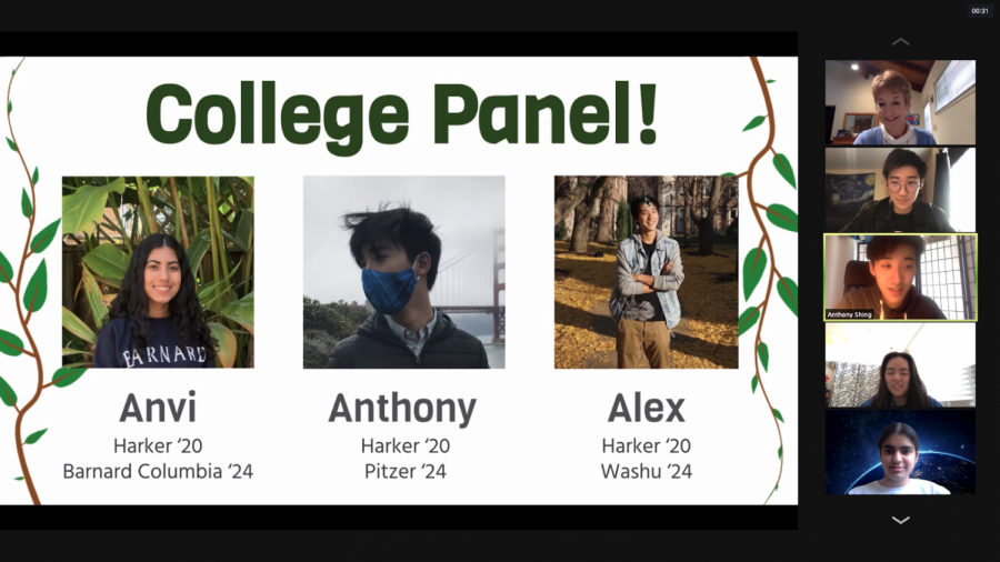 Current Green Team officers led a Q&A session with Anvi Banga ('20), Alex Shing ('20) and Anthony Shing ('20), freshmen at Barnard, Washington University in St. Louis (WashU) and Pitzer College, respectively, who talked to current club members about their environment work in college.