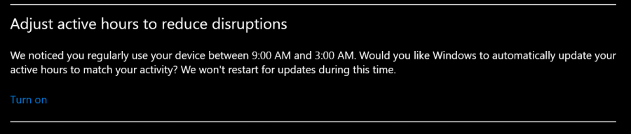This notification is from a screenshot of the Windows update page. Although I was at least peripherally aware of the poor sleep habits I had developed in the past year, it was still quite shocking to see the evidence.