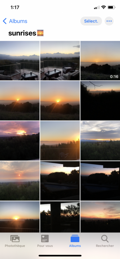 This is a screenshot of my photo album of sunrises, mostly taken from my backyard or driveway. During the pandemic, although I did not go outside much, I found comfort in watching the sunrise from my house in the morning and often took pictures because each one was uniquely different.