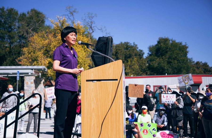 """Mayor Yan Zhao shares her own experiences with racism at the West Valley Stop Asian Hate Rally on March 27. """"Today, unfortunately, we have to come together to fight for one basic human right: that is we can go to public places without the fear of being attacked or assaulted,"""" she said in her address."""