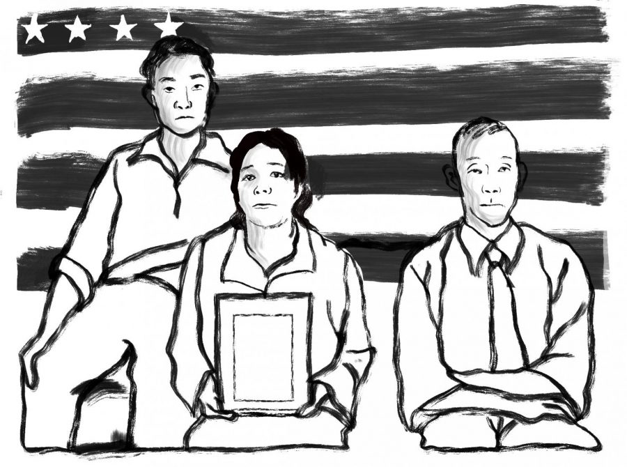 The Hirano family, left to right: George, Hisa and Yasbei at the Colorado River Relocation Center in 1942