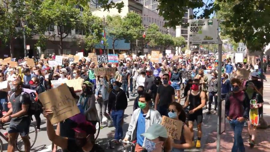 Marchers attend a rally in San Francisco on June 19, 2020, to commemorate Black history and advocate for investment in education. Last Wednesday, the passage of the Juneteenth National Independence Day Act established June 19 as a federal holiday.