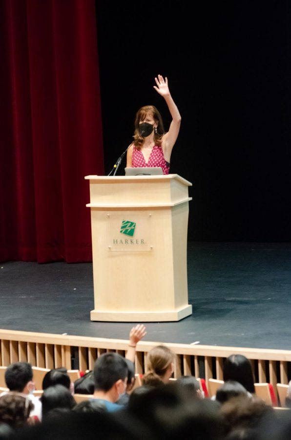 Upper School Performing Arts Director Laura Lang-Ree speaks to the students at the Kick-Off. She announced the directors for Student Directed Showcase performances, seniors Richie Amarillas, Ysabel Chen, Josh Field and Saumi Mehta.
