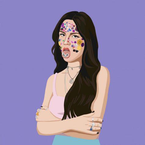 """Olivia Rodrigo on her """"SOUR"""" album cover. The album surpassed Spotify"""