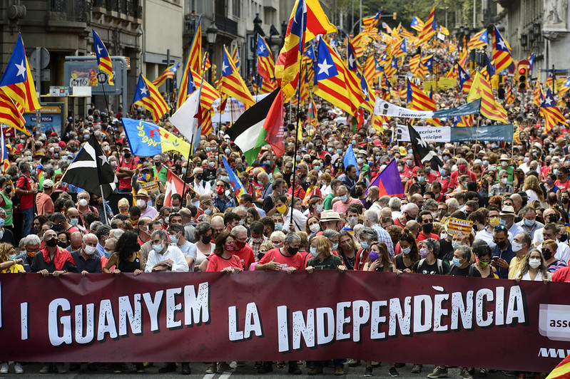 More than 400,000 Catalonian separatists rally on Sept. 11, the National Day of Catalonia.